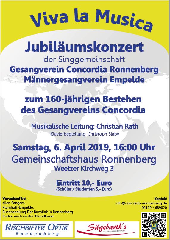 Jubiläumskonzert am 6. April 2019